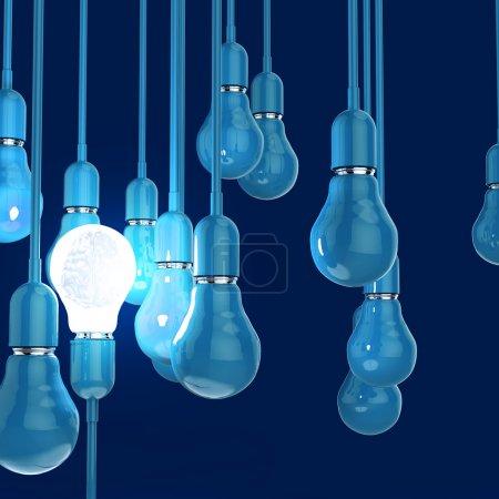 Photo pour 3d métal cerveau humain à l'intérieur l ampoule comme concept de leadership - image libre de droit
