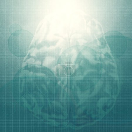 Abstract brain with molecules medical background as vintage styl