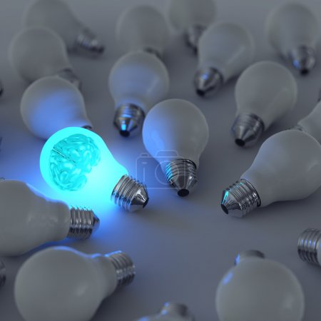 3d metal brain and growing light bulb standing out from the unli