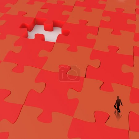 businessman walking in Missing 3d puzzle piece as concept