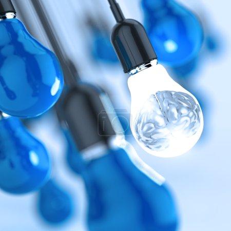 3d metal human brain in a light bulb as creative concept
