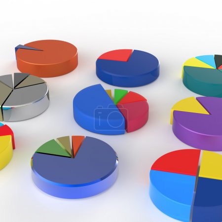 Photo for Set of 3d different pie chart on isolated background - Royalty Free Image