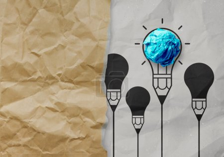 light bulb crumpled paper in pencil light bulb as creative conce