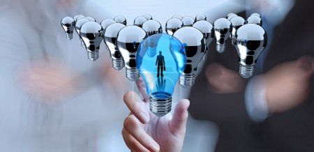 hand reach 3d light bulb of leadership concept