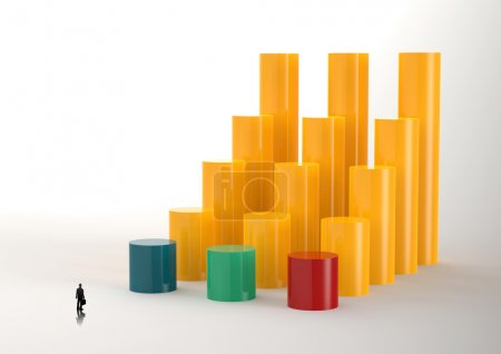 businessman looking at 3D Bar Chart and chart growth as concept