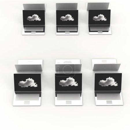 Photo pour Cloud Computing 3d signe sur ordinateur portable comme concept - image libre de droit