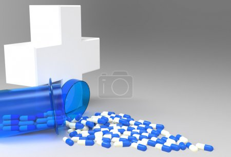 3d virtual medical symbol with capsule pills as concept