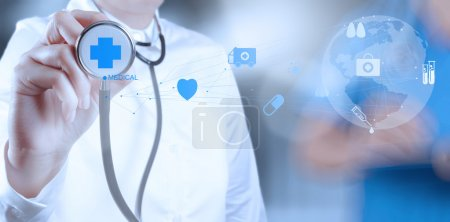 Photo for Medicine doctor hand working with modern computer interface as medical concept - Royalty Free Image