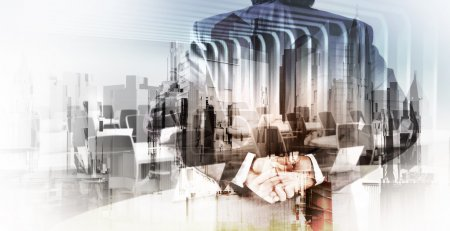 Double exposure of businessman and abstract city as concept