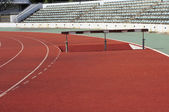 Part of obstacle race in outdoor stadium