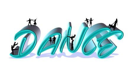 Photo pour Danseurs en silhouette dansant sur texte mot danse en 3d - image libre de droit