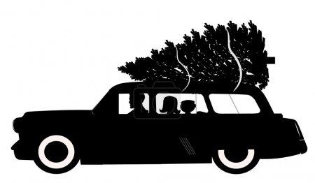 Photo pour Apporter à la maison le meilleur arbre de Noël sur le toit du break avec papa et les enfants en voiture - image libre de droit