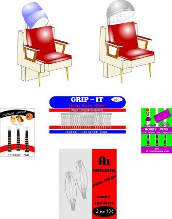 Retro beauty shop elements