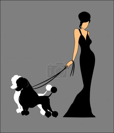 Lady walking her poodles
