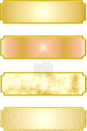 Illustration pour Plaques métalliques détaillées en or et 3d sur blanc - image libre de droit