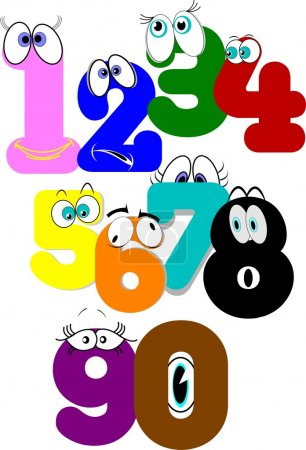Numbers concept in cartoon style