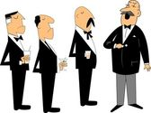 Meeting of business men who appear to be upper lip in style holding drinksdressed in tuxedos listening to ceo
