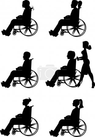 Men and women in wheelchairs