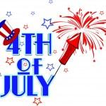 Fourth of July celebration clip art over white