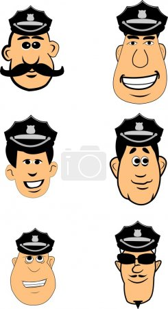 Illustration for Variety of police officers with hats and badges over white - Royalty Free Image