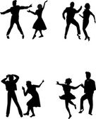 teen dancers from fifties in silhouette