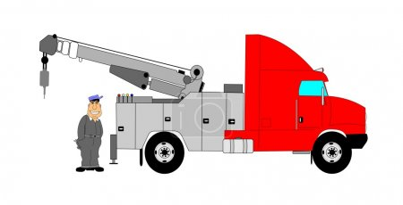 Tow truck driver with tow truck