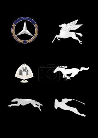 Vintage car hood emblems