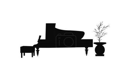 Baby grand piano in silhouette