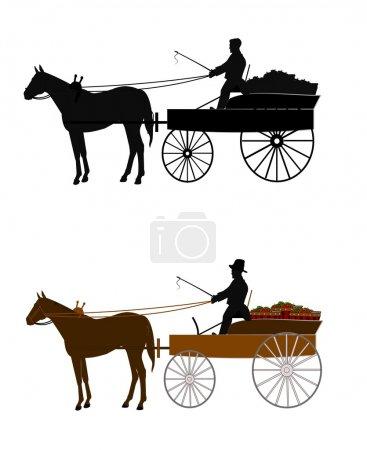 Man on vintage buckboard wagon