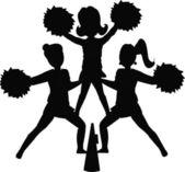 Cheerleaders in silhouette