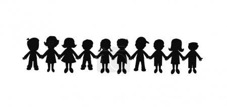 Illustration pour Meilleurs amis pour toujours dans la silhouette représentée avec des enfants tenant la main - image libre de droit