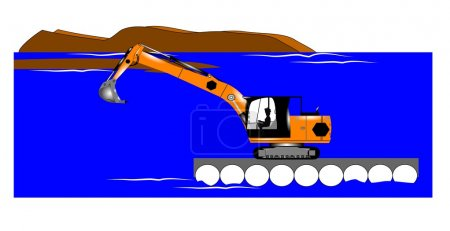 Dredging operation with excavator