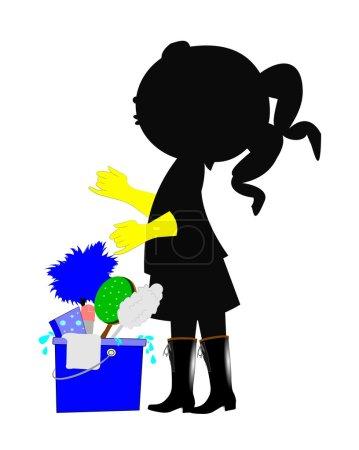 Illustration pour Jeune fille aider maman nettoyer - image libre de droit