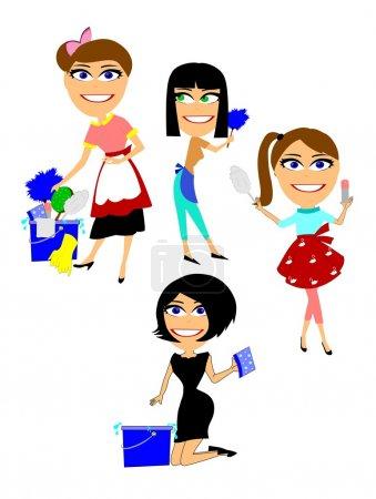 Illustration pour Plusieurs femmes se préparent pour le nettoyage de printemps各种妇女准备春季大扫除 - image libre de droit