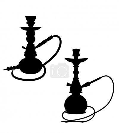 Hookah pipes over white in silhouette  vector...