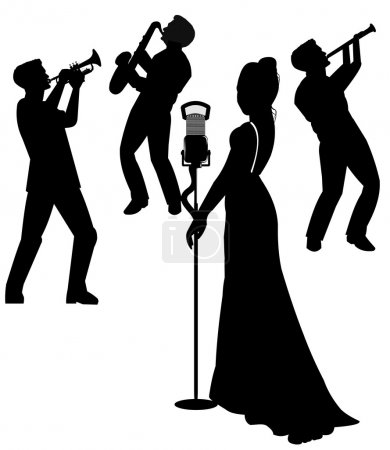 Photo for Silhouette of jazz singer in silhouette - Royalty Free Image