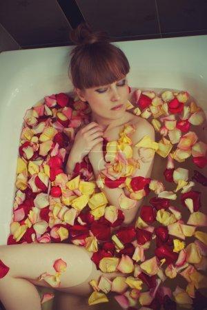 Bath full of rose petals