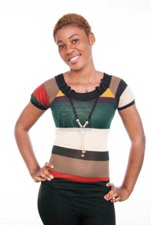 Photo pour Cette jeune fille modèle a un beau sourire . - image libre de droit