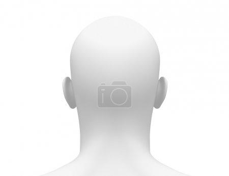 Photo pour Blank White Homme tête - Vue arrière - image libre de droit
