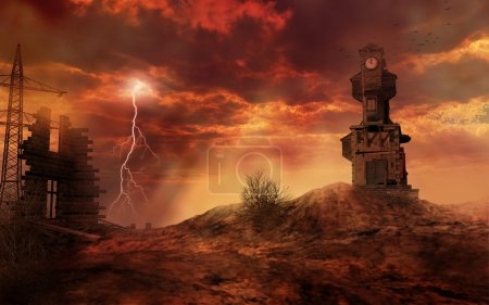 Apocalyptic landscape with clock tower