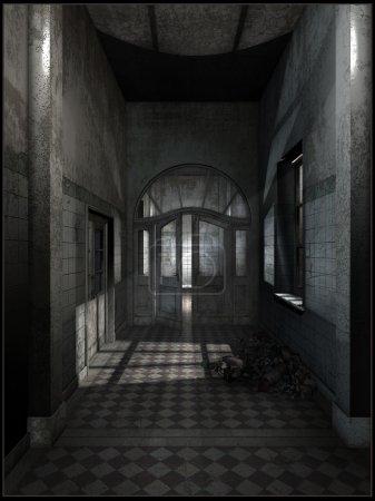 Abandoned hotel hallway