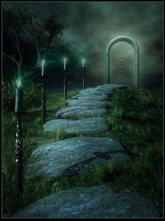 Photo pour Une route vers un portail magique avec des bougies - image libre de droit