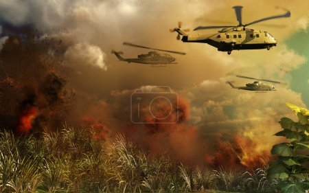 Photo for Helicopters raid in the jungle - Royalty Free Image