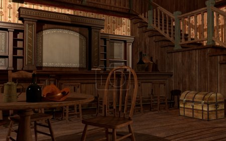 Old wild west saloon with table, chair and trunk...