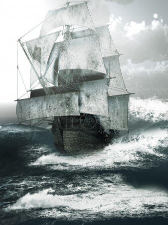 Old ship sailing through rough seas