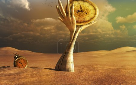 Wooden hands and clocks