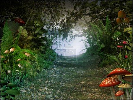Photo pour Paysage de conte de fées avec fleurs et champignons - image libre de droit