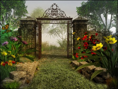 Fairytale scene with gate and flowers