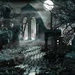 Night scenery with moon and ruins...