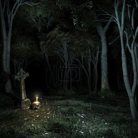 Photo pour Traverser à la lumière d'une bougie dans une clairière - image libre de droit